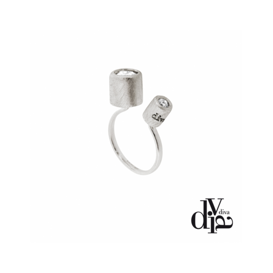 17374ZM - Ring - Olla, adj, zircon double, rhodium - 100093