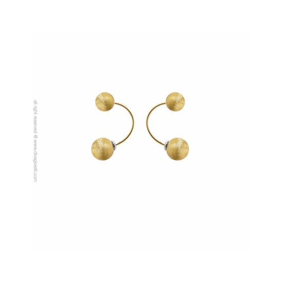 17433GM - Earring - Eclisse. Galaxy. round. gold scratched