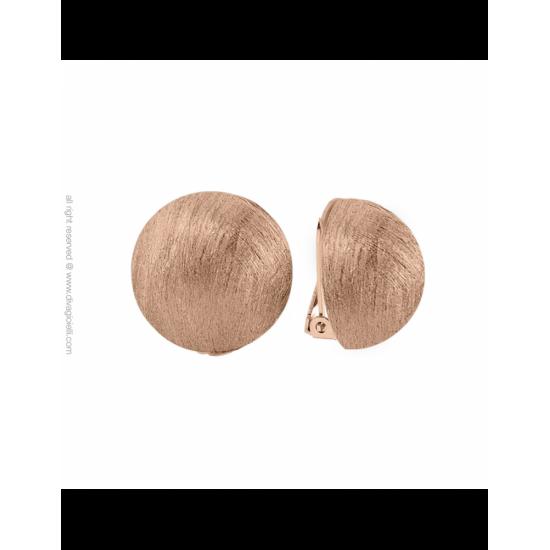 16988RM - Earrings - Luce. clip. ø22. rosé gold scratched