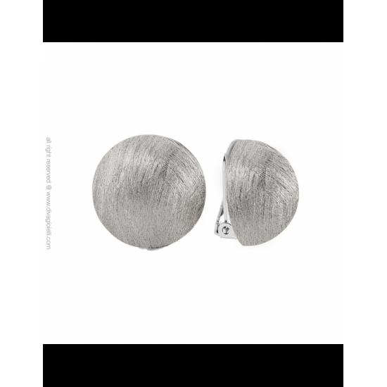 16988ZM - Earrings - Luce. clip. ø22. rhodium scratched