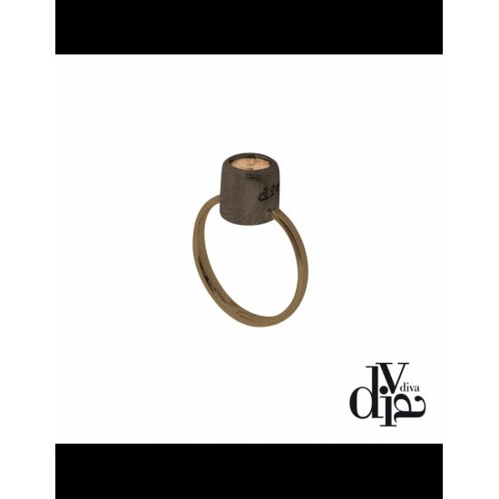 17372BM - Ring - Olla, adj, zircon ø6, brown