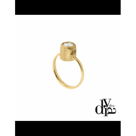17372GM - Ring - Olla, adj, zircon ø6, gold