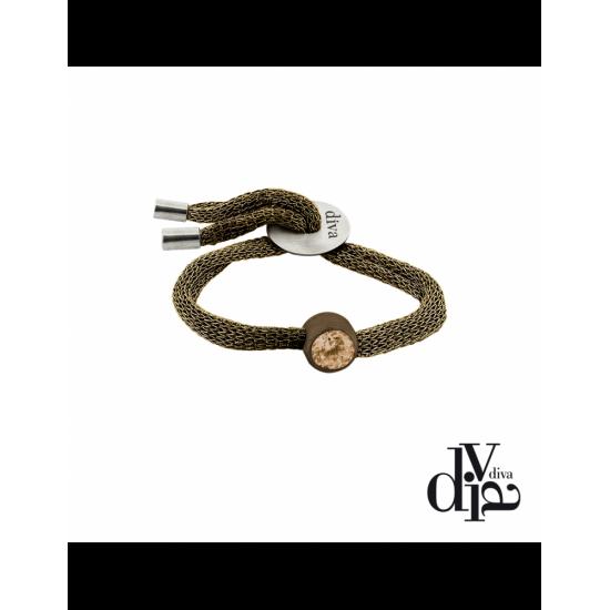 17375BM - Bracelet - Olla. adj. zircon ø8. brown/brown
