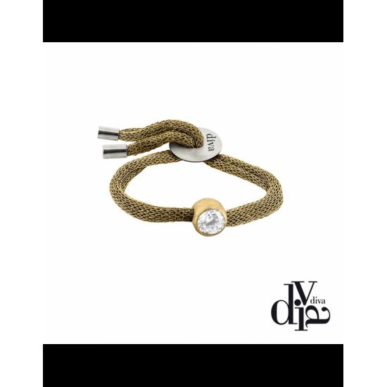 17375GM - Bracelet - Olla. adj. zircon ø8. gold/gold