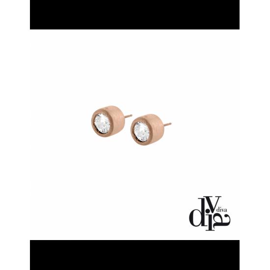 17380RM - Earrings - Olla. zircon ø8. rosé gold