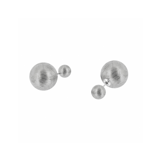 17329ZM - Earrings - Eclisse. silver scratched. pair